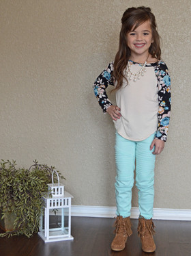 Girls Nothing Compares to You Floral Top- Oatmeal