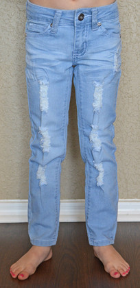 Girls Distressed Jeans- Light Denim CLEARANCE