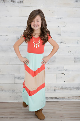 Girls Simply Sweet Cap Sleeve Maxi- Coral