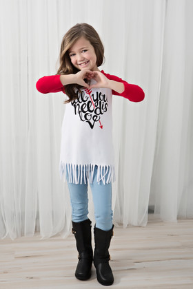 Girls All You Need Is Love Fringe Top- Red CLEARANCE