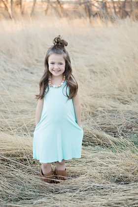 Girls Tank Dress With Side Pockets- Mint