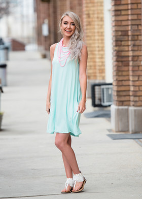 Mommy Tank Dress w/ Side Pockets- Mint