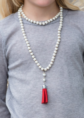 Sweet Suede Pearl Necklace- Red