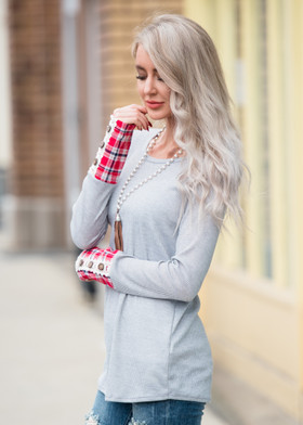 Mommy Spring Plaid Cuff L/S Top- Grey