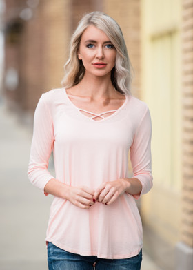 Mommy Perfect Day Criss Cross Top- Blush CLEARANCE