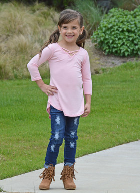 Girls Perfect Day Criss Cross Top- Blush CLEARANCE