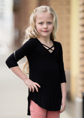Girls Perfect Day Criss Cross Top- Black