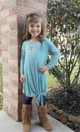 Girls Side Tie and Slit Top- Dusty Blue  CLEARANCE
