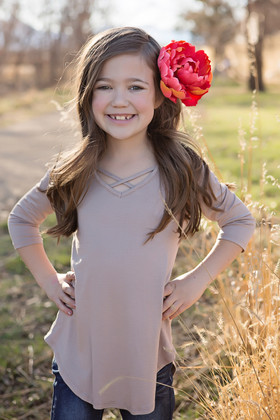 Girls Perfect Day Criss Cross Top- Taupe CLEARANCE