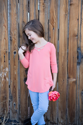 Girls Perfect Day Criss Cross Top- Pastel Coral CLEARANCE