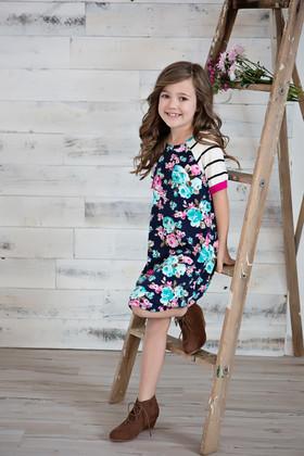 Girls Spring Fever Floral & Striped Dress- Fuchsia