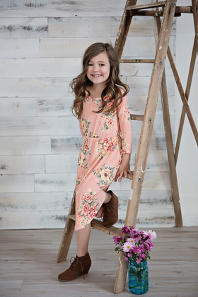 Girls Summer Wind Floral Dress- Blush