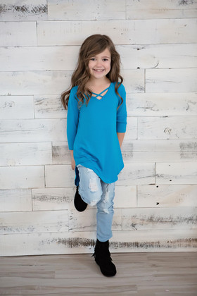 Girls Perfect Day Criss Cross Top- Turquoise