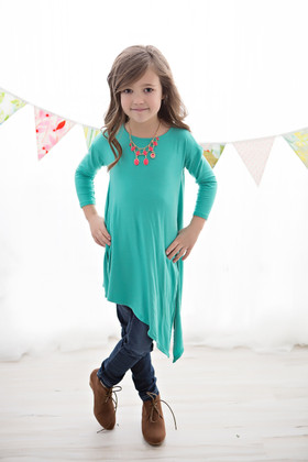 Girls Side Tie and Slit Top- Seafoam CLEARANCE