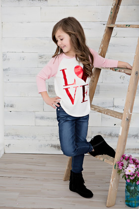 Girls Red Foil LOVE Baseball Top- Pink
