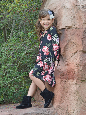 Girls Sway With Me Floral Dress w/ Keyhole Neckline- Black CLEARANCE