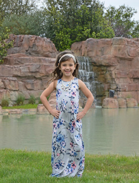 Girls Feelin' Floral Maxi Dress- Grey
