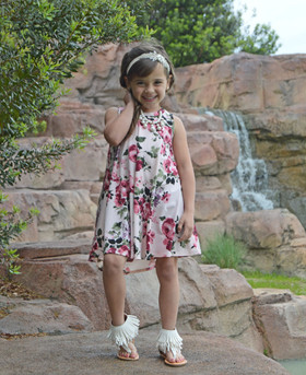 Girls Draped Tunic Tank Dress- Floral Blush