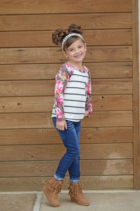 Girls Little Blossom Pocket 3/4 Sleeve Top- Mauve