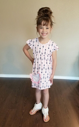 Girls Navy Arrow Cap Sleeve Tunic Dress- Pink CLEARANCE