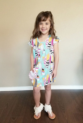 Girls Feather Cap Sleeve Tunic Dress- Multi Colored