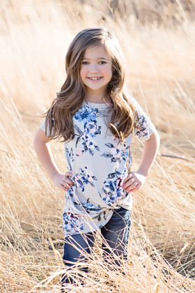 Girls Floral Print Twist Top- Grey