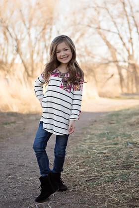 Girls Striped Top w/ Floral Shoulders & Pocket- Mauve