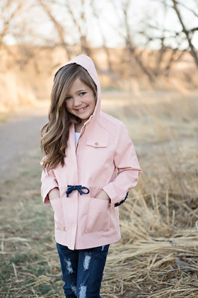 Girls Lace Tie Up Cargo Jacket- Soft Pink