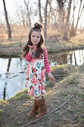 Girls Stripes and Roses Dress Coral