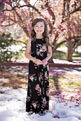 Girls Feelin' Floral Maxi Dress Black