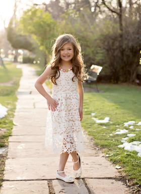 Girls Crochet Lace Eyelet Dress Ivory
