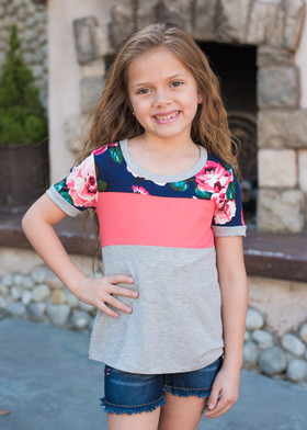 Girls Floral Color Block Top Coral