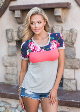 Mommy Floral Color Block Top Coral