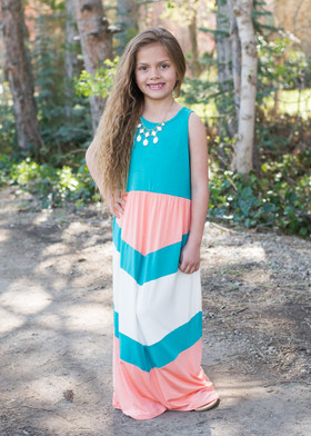 Girls Pretty Girl Maxi Peach/Teal