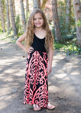 Girls Neon Coral/Black Damask Maxi Dress