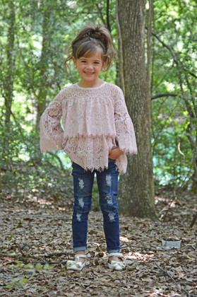 Girls Mauve Lace Tiered Bell Sleeve Top