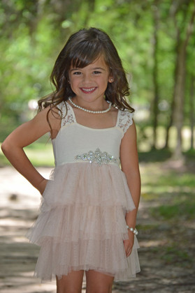 What an Event Cream Ruffled Sash Tulle Dress