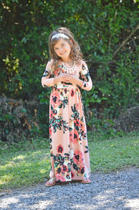 Girls Floral 3/4 Sleeve Maxi Blush
