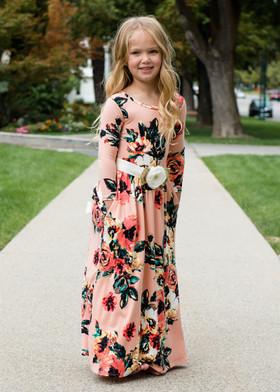 Girls Floral Magic Pocket Maxi Blush