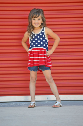 Girls Red, White and Striped Tank Top