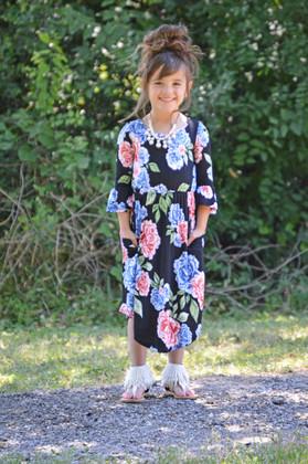 Girls Blue and Pink Floral Dress Black