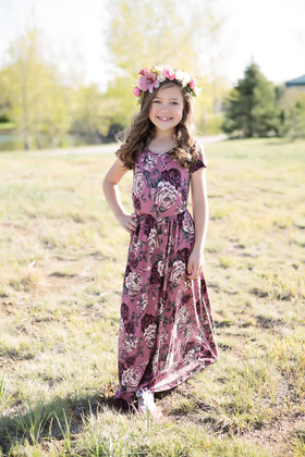 Girls Plum Rose Floral Pocket Maxi Dress
