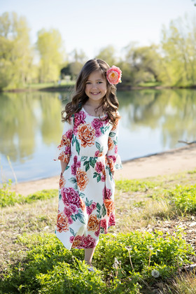 Girls Bright Pink/Orange Floral Dress White