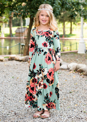 Girls Floral 3/4 Sleeve Maxi Mint