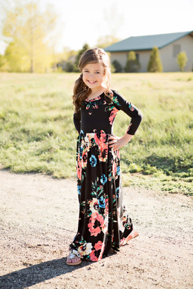 Girls Floral 3/4 Sleeve Maxi Black