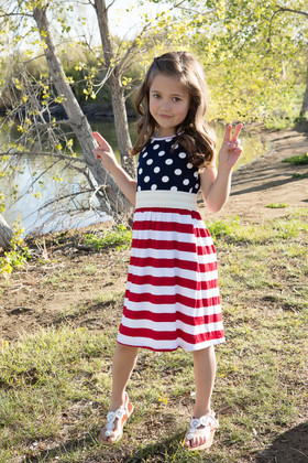 Girls Patriotic Polka Dots Dress