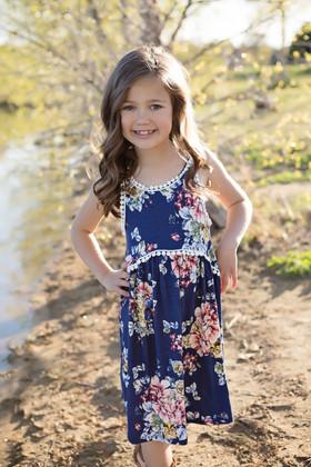 Girls Floral Baby Doll Tank Dress w/ Trim Navy