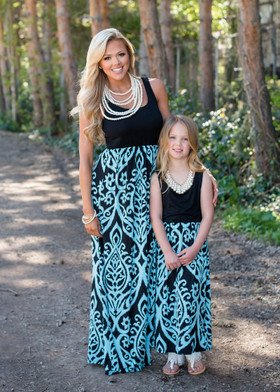 Mommy Aqua/Black Damask Maxi Dress