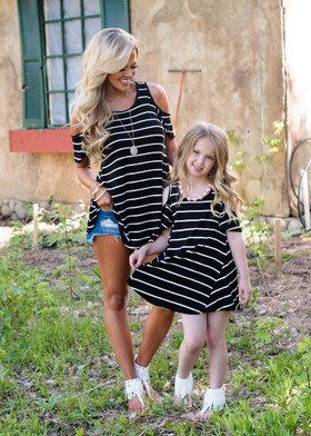 Mommy A Little Bit of Shoulder Black & White Striped Top