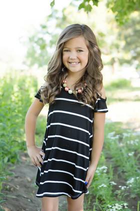 Girls A Little Bit of Shoulder Black & White Striped Top